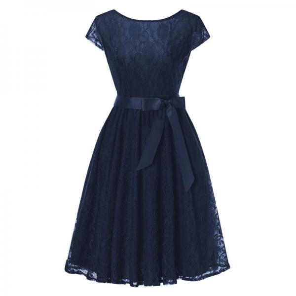Elegant Floral Lace Pleated Dress Women Cap Sleeve Vintage Belted Swing Casual Party Dress navy blue