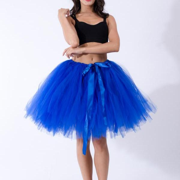 Midi Tulle Skirt Elegant Wedding Bridal Bridesmaid Women TUTU Skirt Lolita Petticoat royal blue
