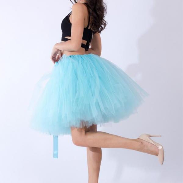 Midi Tulle Skirt Elegant Wedding Bridal Bridesmaid Women TUTU Skirt Lolita Petticoat sky blue