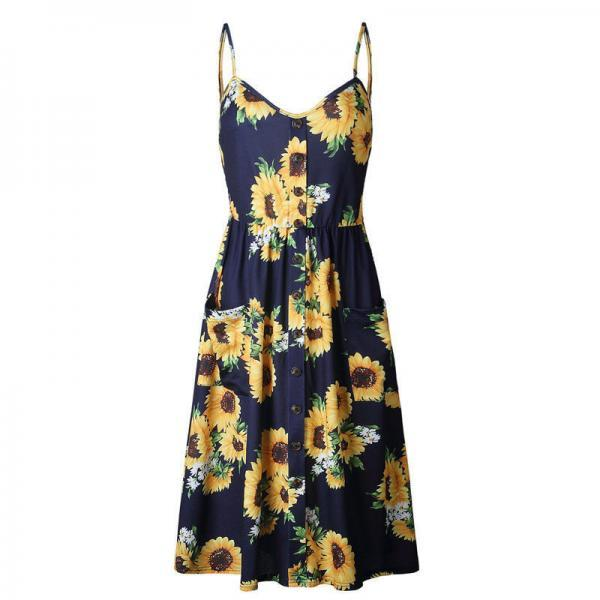 Spaghetti Strap Sunflower Floral Print Summer Midi Dress with Pockets