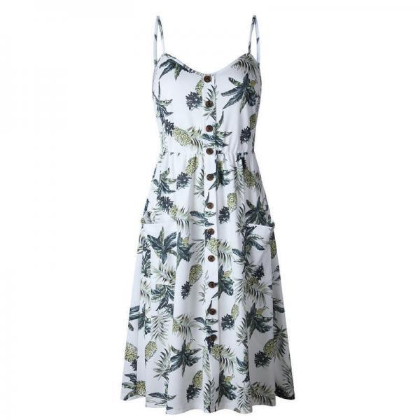 Spaghetti Strap Tropical Print Summer Midi Dress with Pockets