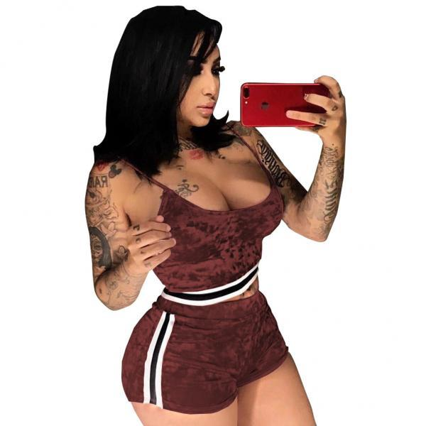 Sexy Velvet Tracksuit Suit Women Camis Crop Top+Shorts Two Piece Set Sportwear burgundy