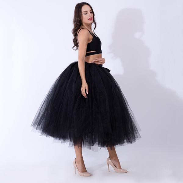 Women Puffy Tutu Skirts Long Tea Length Tulle Skirt Wedding Bridesmaid Lolita Underskirt black
