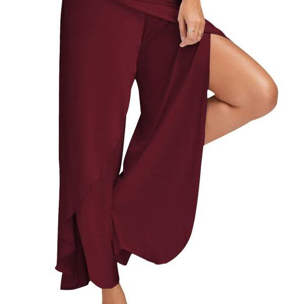 1 Piece Women High Split Trousers Female Loose Yoga Sport Wide Leg Pants burgundy
