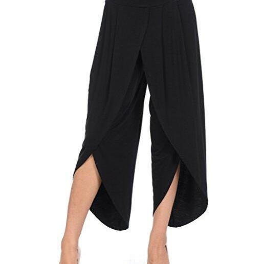 New Irregular Wide Leg Pants Women Fashion Cross Split Ladies Solid Casual Comfortable Loose Trousers black