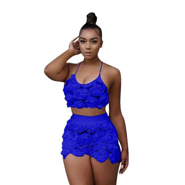 Sexy Two Piece Sets Women Floral Mesh Lace Halter Crop Top+Shorts Summer Outfits Clothing Set royal blue