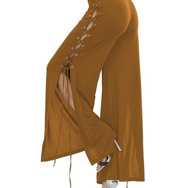 Women Cross Lace Up Wide Leg Pants Sexy Side Slit High Waist Loose Long Palazzo Trousers camel