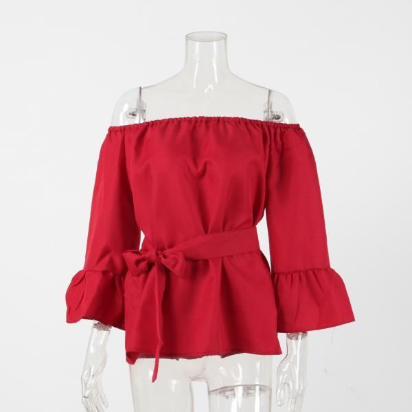 Red Off Shoulder Long Sleeve Casual Ruffle Belted Top