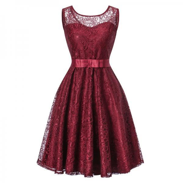 Vintage Lace Dress Sleeveless Belted Tunic Hepburn Women Cocktail Party Swing Dress burgundy