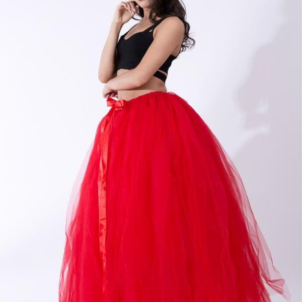 Puffty Women Tulle Tutu Skirt High Waist Lace up Jupe Female Prom Party Bridesmaid Skirts red