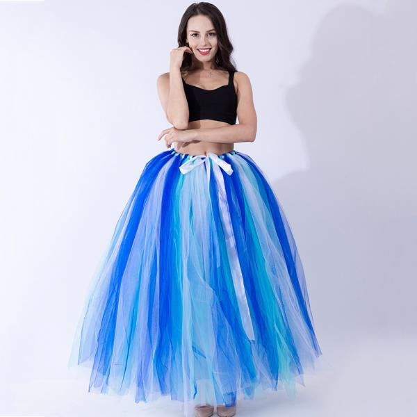 Puffty Women Tulle Tutu Skirt High Waist Lace up Jupe Female Prom Party Bridesmaid Skirts royal blue+mint+white