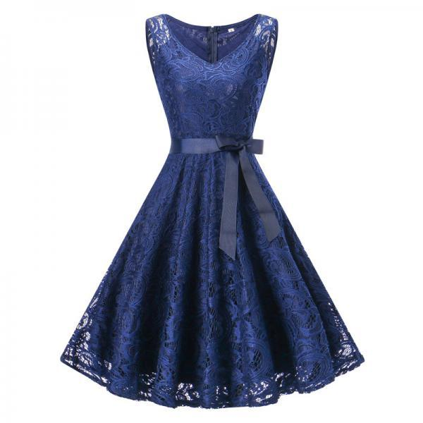 Vintage Floral Lace Dress Women V Neck Sleeveless Cocktail Evening Party Swing Dress navy blue