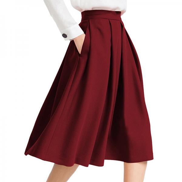 Women Midi Pleated Skirt High Waist Knee Length Pockets Girls A Line Skater Skirt burgundy