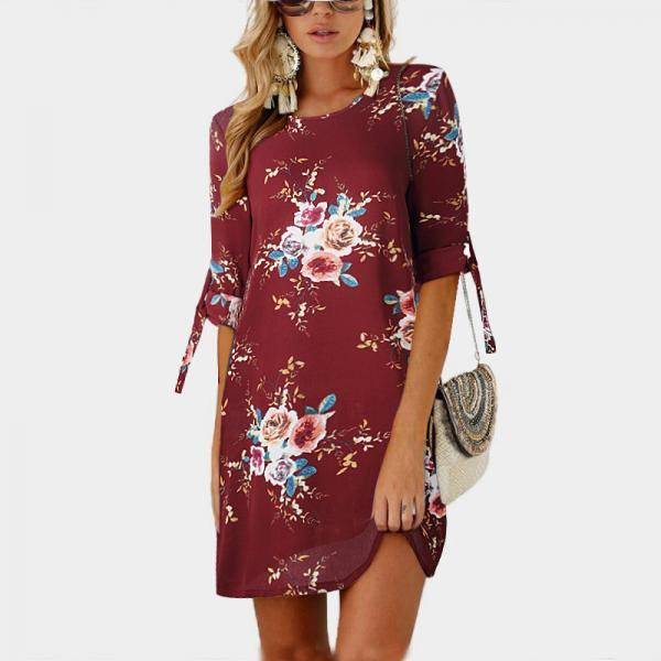 Women Short Casual T Shirt Dress Summer Boho Floral Printed Short Sleeve Loose Mini Beach Party Dress YS80881-burgundy