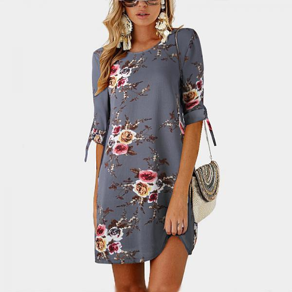 Women Short Casual T Shirt Dress Summer Boho Floral Printed Short Sleeve Loose Mini Beach Party Dress YS80881-gray
