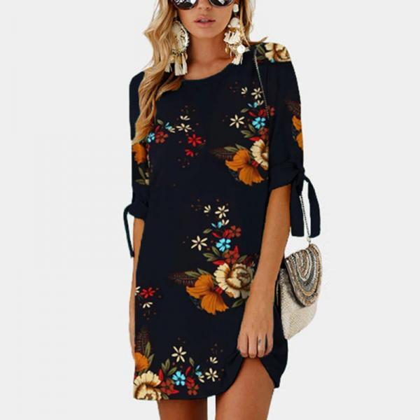 Women Short Casual T Shirt Dress Summer Boho Floral Printed Short Sleeve Loose Mini Beach Party Dress YS80883-navy blue