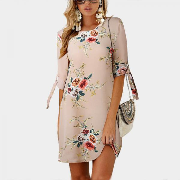 Women Short Casual T Shirt Dress Summer Boho Floral Printed Short Sleeve Loose Mini Beach Party Dress YS80881-khaki