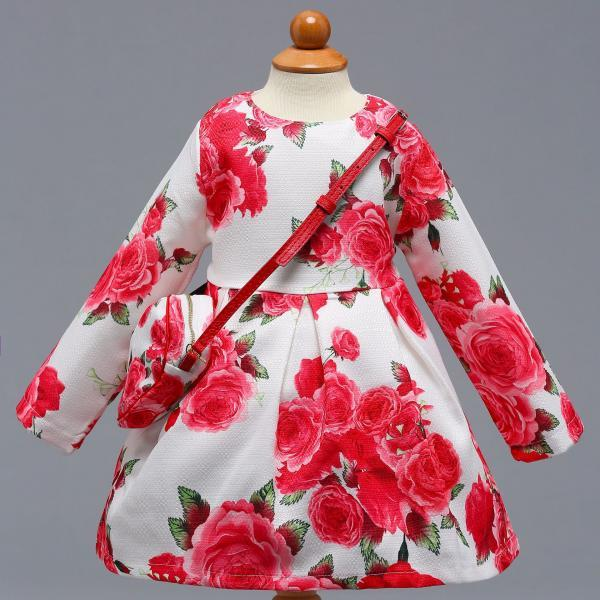 Long Sleeve Girl Party Dress Floral Printed Toddler Kids Children Clothes with Bag9#