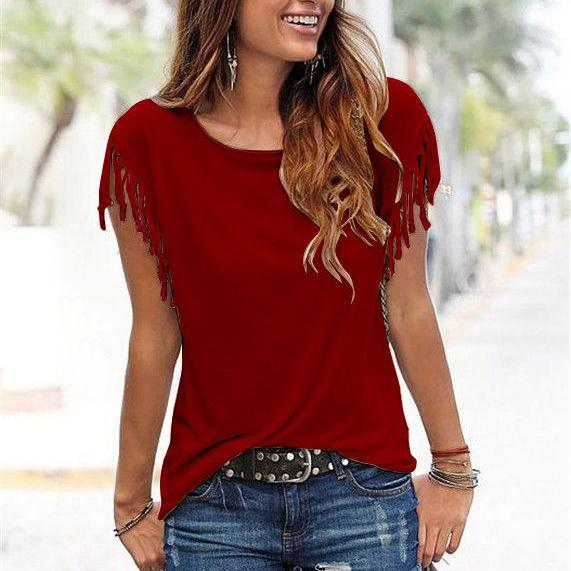 Women Tassel Casual T-Shirt Solid Color Basic Short Sleeve O-Neck Plus Size Summer Tops red