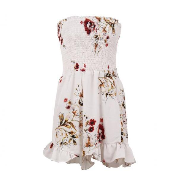 Summer Women Romper Casual Bohemian Floral Printed Jumpsuit Off Shoulder Beach Playsuit off white