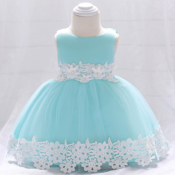 Newborn Baby Lace Flower Girl Dress Toddler Birthday Prom Party Tutu Gown Kids Clothes Aqua