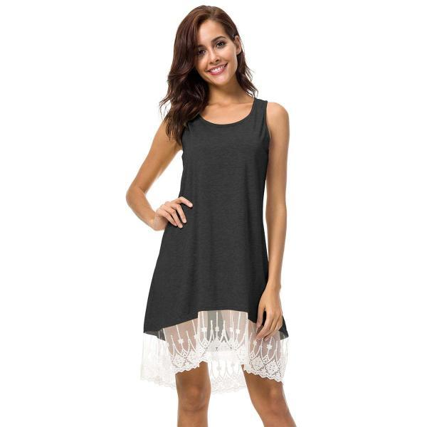 Women Casual Short Loose Dress Sleeveless Summer Beach Lace Splice Asymmetrical Mini Sundress dark gray