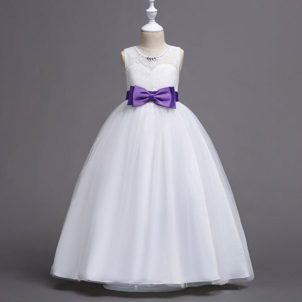 New Flower Girl Dress Bow Wedding Formal Communion Party Gown Kids Children Clothes purple