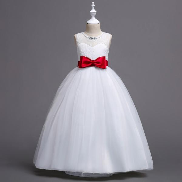 New Flower Girl Dress Bow Wedding Formal Communion Party Gown Kids Children Clothes red