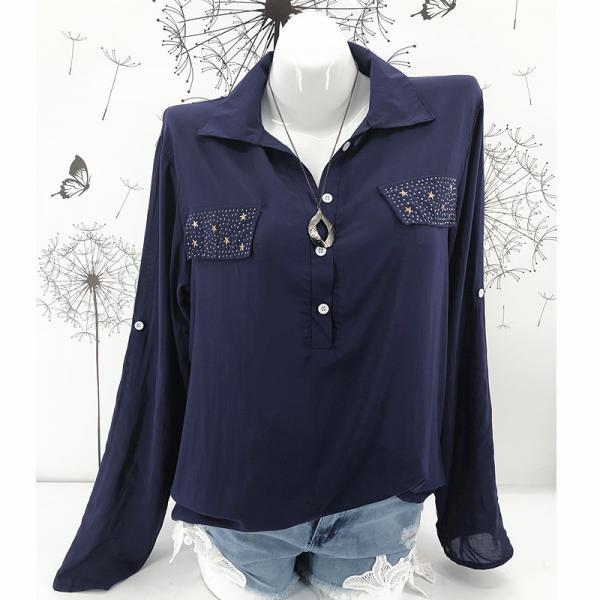 Women Blouse Long Sleeve Plus Size Casual Work Office Lady Tops Shirt dark blue