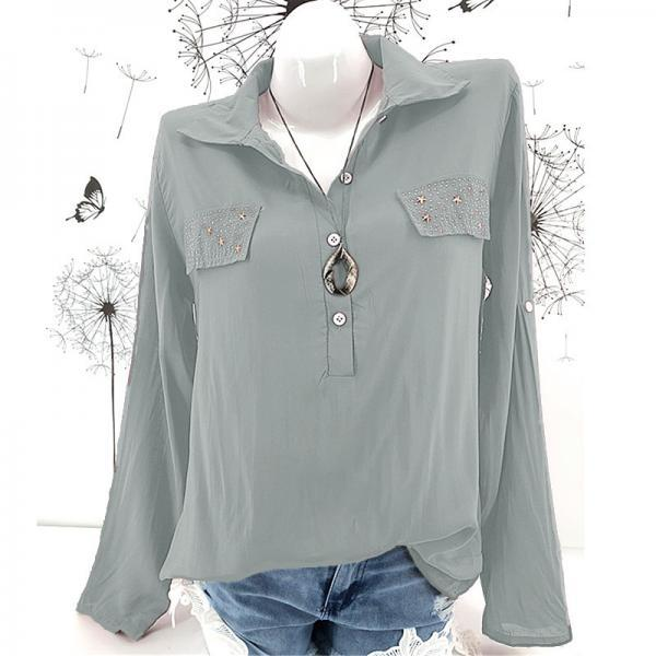 Women Blouse Long Sleeve Plus Size Casual Work Office Lady Tops Shirt gray