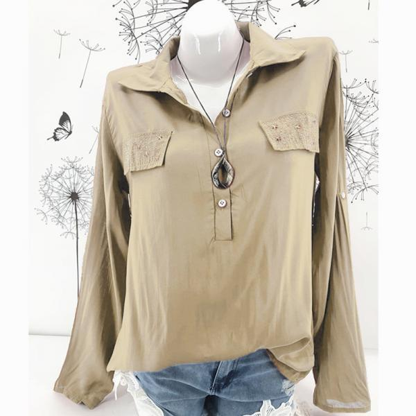 Women Blouse Long Sleeve Plus Size Casual Work Office Lady Tops Shirt khaki