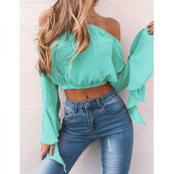 Off The Shoulder Women Blouse Sexy Flare Sleeve Summer Crop Tops Casual Short Shirts green