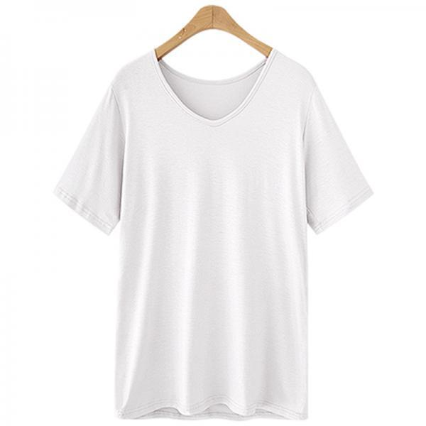 Women V Neck T Shirt Summer Short Sleeve Plus Size Casual Basic Tee Tops off white