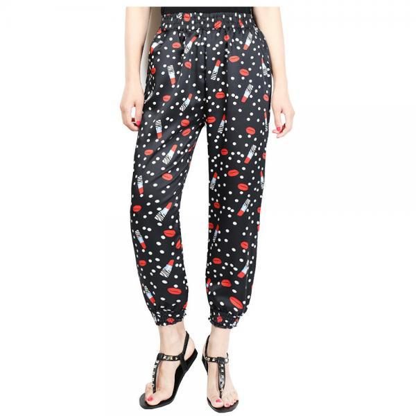 Women Harem Pants Summer Beach Elastic Waist Drawstring Loose Floral Printed Trousers11#