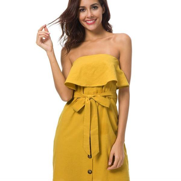 Women Summer Mini Dress Ruffles Strapless Buttons Belted Club Party Sundress yellow