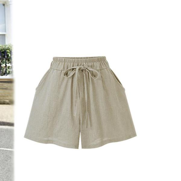 Women Wide Leg Shorts Plus Size Summer Drawstring High Waist Loose Casual Shorts apricot