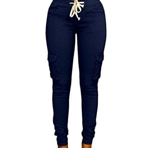 Navy Blue Drawstring High-Waist Skinny Slim Casual Joggers, Trousers