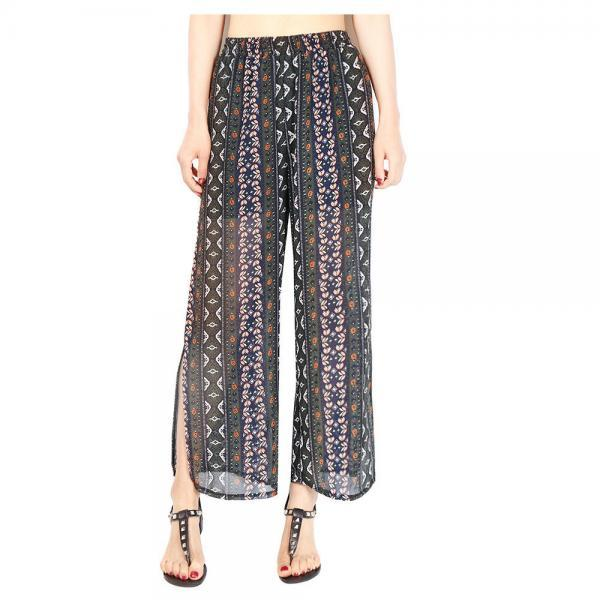 Women Chiffon Loose Casual Pants High Waist Summer Side Split Floral Printed Wide Leg Trousers4#