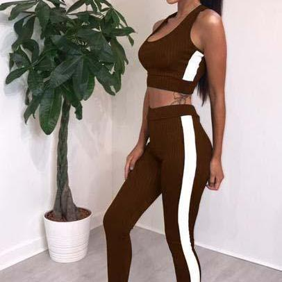 Women Tracksuit Crop Top+Long Pants Two Pieces Yoga Set Striped Sportswear Fitness Clothing brown