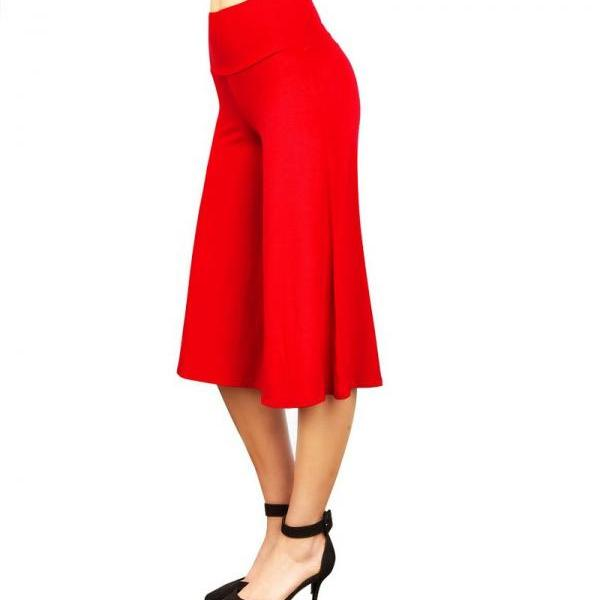 Women Wide Leg Pants High Waist Knee Length Summer Casual Loose Streetwear Trouses red