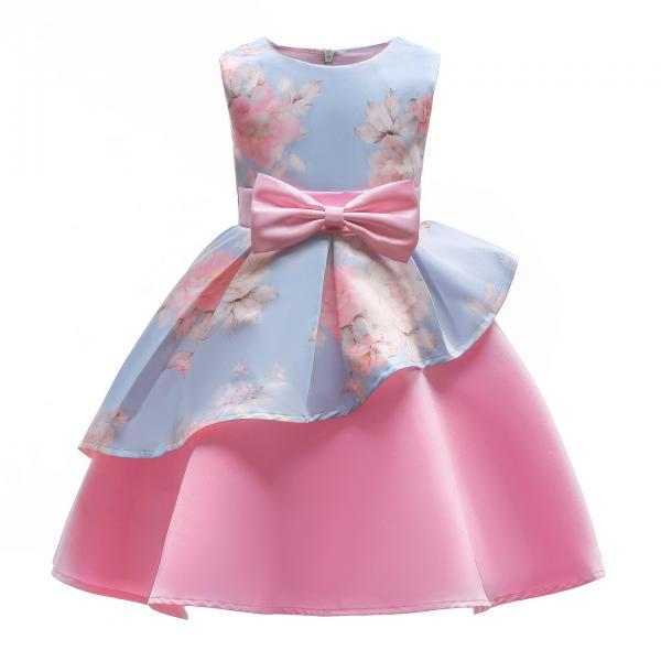 Floral Flower Girl Dress Communion Formal Party Birthday Gown Children Clothes 2106-baby blue
