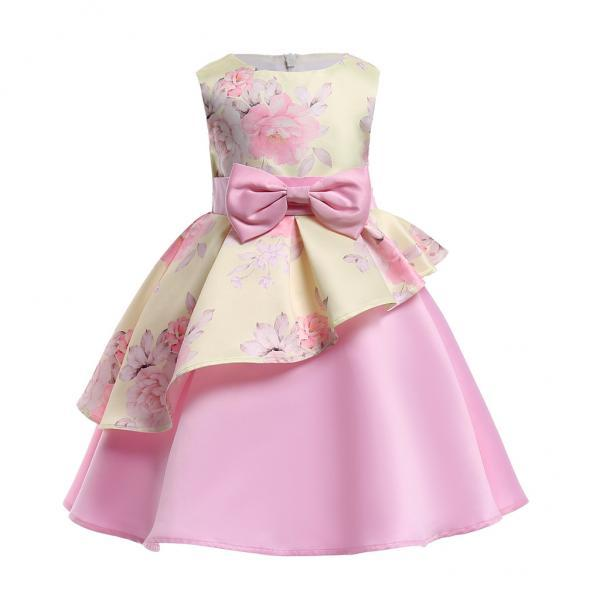 Floral Flower Girl Dress Communion Formal Party Birthday Gown Children Clothes 2106-yellow