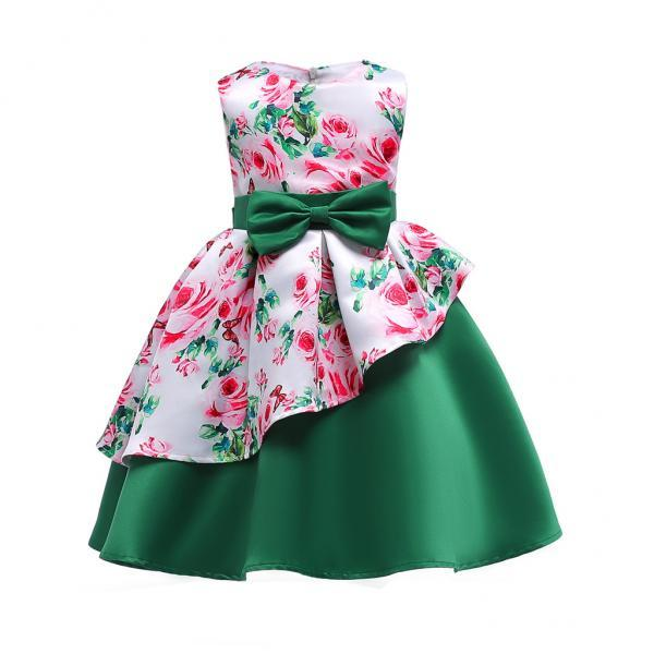 Floral Flower Girl Dress Communion Formal Party Birthday Gown Children Clothes 2586-green