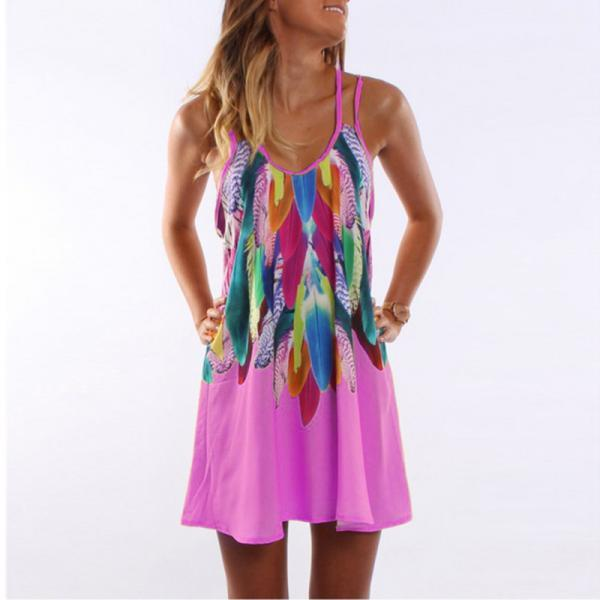 Women Floral Printed Mini Party Dress Spaghetti Strap Summer Beach Casual Sundress deep pink