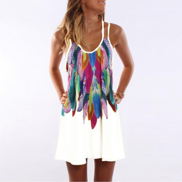 Women Floral Printed Mini Party Dress Spaghetti Strap Summer Beach Casual Sundress off white