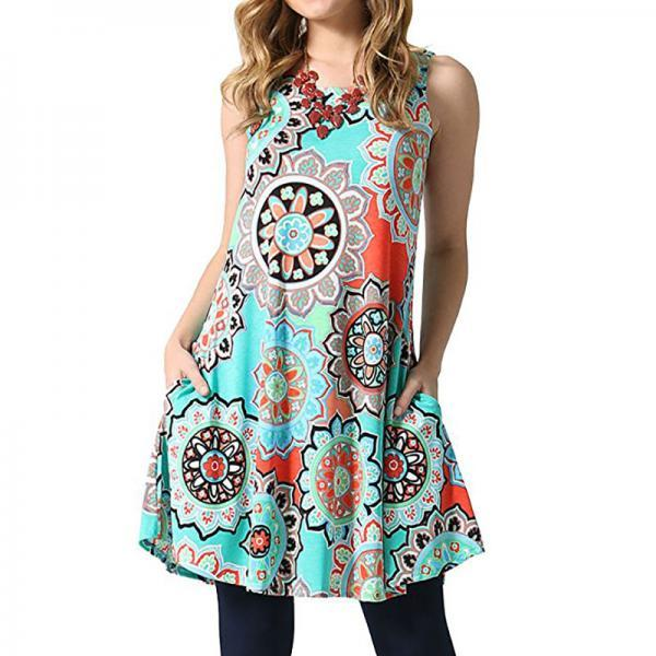 Women Casual Dress Summer Beach Sleeveless Pocket Element Printed Loose Boho Mini Dress 10#
