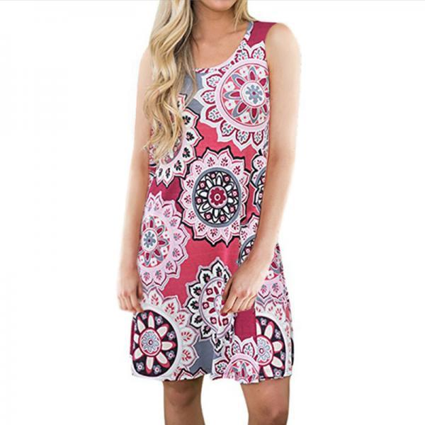 Women Casual Dress Summer Beach Sleeveless Pocket Element Printed Loose Boho Mini Dress 11#