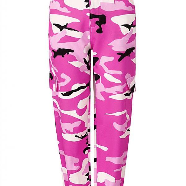 Women Camouflage Harem Pants Casual Loose Jogger Camo Cargo Trousers Sweatpants pink
