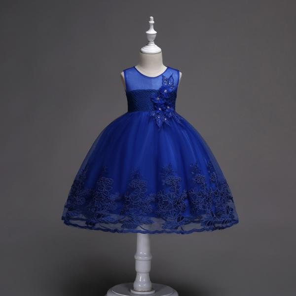 Lace Flower Girl Dress Sleeveless Princess Wedding Birthday Party Wear Kid Clothes royal blue