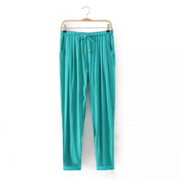 Women Casual Harem Pants Drawstring Elastic Waist Ankle Length Slim Long Trousers aqua
